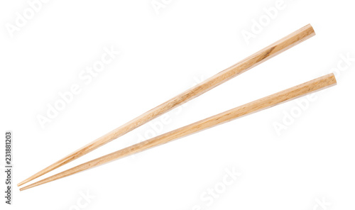 Wooden chopsticks isolated on white background Wallpaper Mural