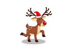 Vector Illustration Little Reindeer With A Red Nose On A White Background. Merry Christmas And Happy New Year. Decorative Element On Holiday. Greeting Card Design.