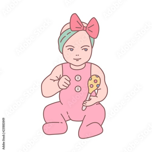 Pretty Newborn Baby Girl Dressed In Romper Suit Sitting And Holding