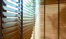 Evening Sun Light Outside And Wooden Window Blinds, Sunshine And Shadow On Window Blind, Decorative Interior Home Concept