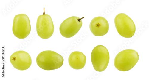 Fotografia, Obraz  Set of grape berries on a white background