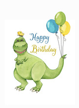 Hand Drawn Watercolor Illustration Of Cute Cartoon Dinosaur With Colorful Balloons. Greeting Birthday Card, Template, Poster, Banner For Childre
