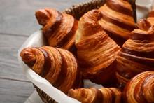 French Croissants In Wicker Basket