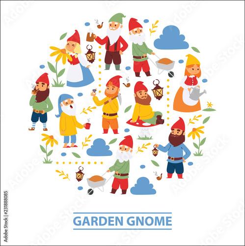 Foto Garden gnome beard dwarf characters wallpaper and gardening flayer klitsch famil