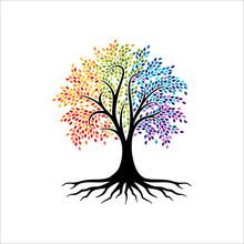 Abstract Vibrant Tree Logo Design, Root Vector - Tree Of Life Logo Design Inspiration
