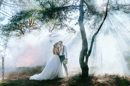 bride and groom on the background of fairy fog in the forest Fototapet