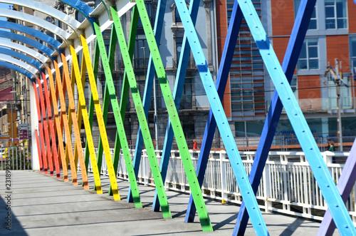 Poster Bamboe Puente peatonal con estructura metálica de colores
