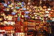 Leinwanddruck Bild - Traditional handmade turkish lamps in souvenir shop.