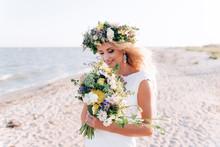 Beautiful Bride Walks Near The...