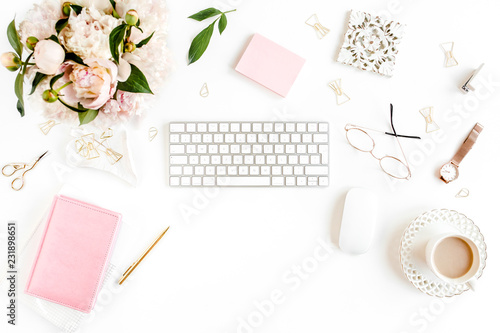 Flat Lay Women S Office Desk Female Workspace With Computer Pink Peonies Bouquet Accessories On White Background Top View Feminine Background Buy This Stock Photo And Explore Similar Images At Adobe Stock
