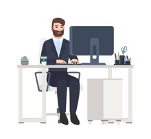 Cheerful Male Office Worker Or Clerk Sitting At Desk And Working On Computer. Smiling Manager At Its Workplace Isolated On White Background. Colorful Vector Illustration In Flat Cartoon Style.