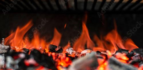 Fotografie, Obraz  Grillkohle, Glut & Feuer Header Panorama