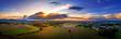 canvas print picture - Luftbild eines dramatischen Sonnenuntergangs im Siebengebirge