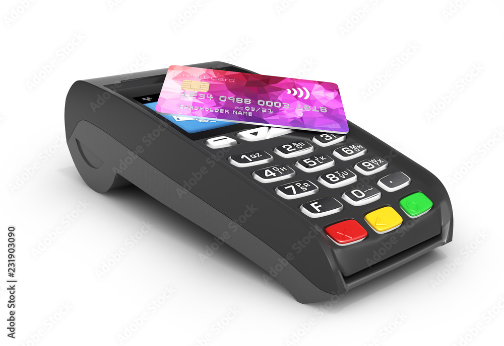 Fototapeta Payment touch concept POS terminal with credit card on it isolated on white background 3d render