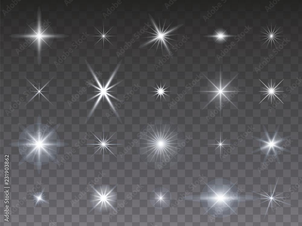 Fototapety, obrazy: Sammlung von leuchtenden Sternen auf transparentem Hintergrund