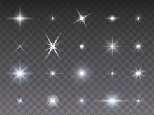 Sammlung Von Leuchtenden Stern...