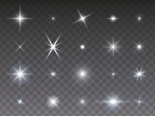 Sammlung von leuchtenden Sternen auf transparentem Hintergrund