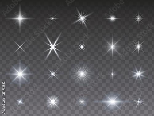Fotomural Sammlung von leuchtenden Sternen auf transparentem Hintergrund