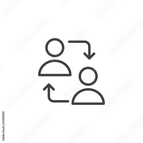 User switch outline icon  linear style sign for mobile