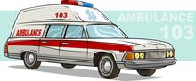 Cartoon Ambulance Emergency Retro Long Car
