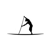 Stand Up Paddle Silhouette Vector Illustration