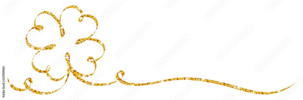 Fototapety, obrazy: Single Golden Cloverleaf Ribbon Glitter Calligraphy