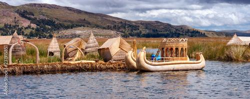 Spoed Foto op Canvas Zuid-Amerika land Traditional village on floating islands on lake Titicaca in Peru