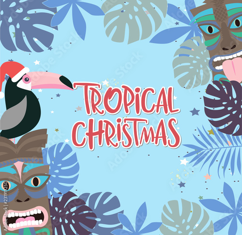 Merry Christmas In Hawaiian.Tropical Christmas Poster With Fun Hawaiian Mask And Toucan