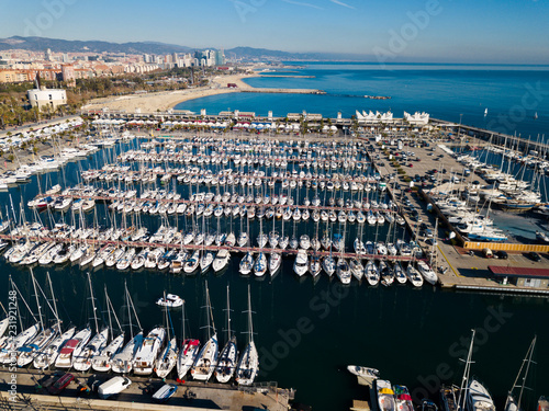 Keuken foto achterwand Poort View from drone to marina of Barcelona
