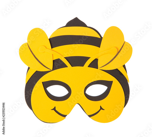 Bee animal carnival mask isolated on white background Tablou Canvas