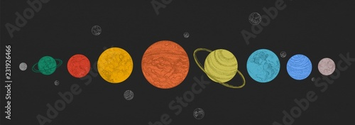 Planets of Solar system arranged in horizontal row against black background Wallpaper Mural