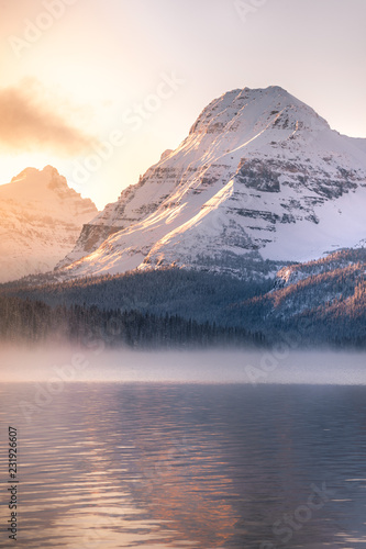 Aluminium Prints Golden sunrise at Bow Lake, Canadian Rockies