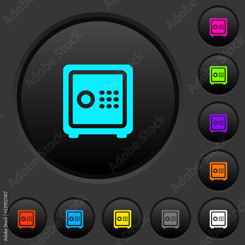 Strong box with key code dark push buttons with color icons