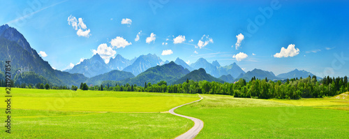 Garden Poster Blue Panorama of summer mountains