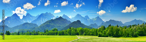 Poster Bergen Panorama of summer mountains