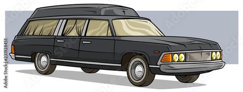 Photo  Cartoon black old long classic funeral hearse car