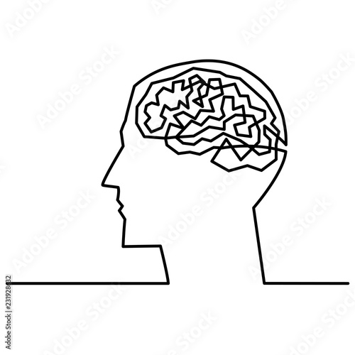 Continuous One Line Drawing Men Head And Brain Inside The Concept Of