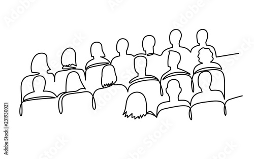 Foto Continuous Line Drawing of Vector illustration character of audience in the conference hall background with blank space for your text and design