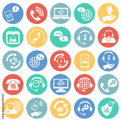 Call Center Help Desk Set On Color Circles White Background Icon