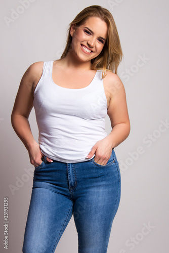 size plus body tipe beautiful woman model isolated on white Tablou Canvas