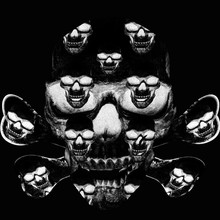 Yellow Skull On A Black Background.