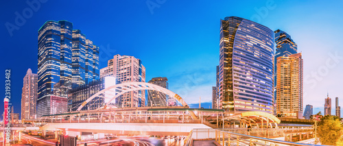 Poster Stad gebouw Cityscape of Sathon-Silom business area in Bangkok, Thailand