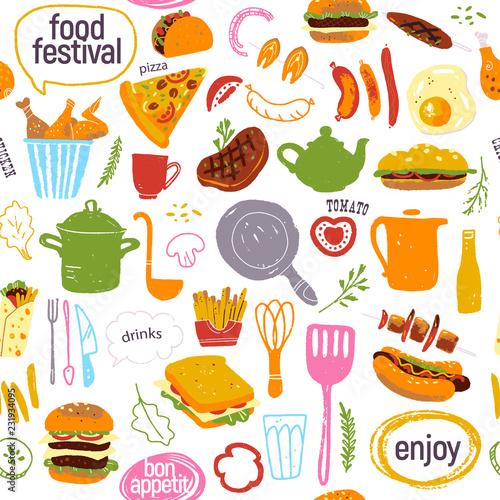 734ffb7bd763 Vector seamless pattern with tasty street food festival illustration ...