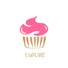 Hand Drawn Cupcake Vector Illustration. Icon Symbol