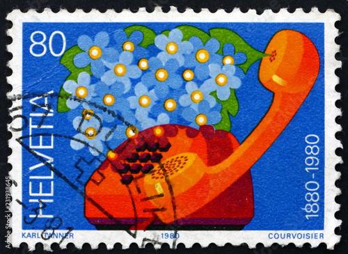 Postage stamp Switzerland 1980 Swiss telephone service centenary Canvas-taulu