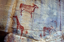 Rock Art Painting In Tsodilo Hills, Botswana. Paintings Are Attributed To The San People. The Tsodilo Hills Are A UNESCO World Heritage Site