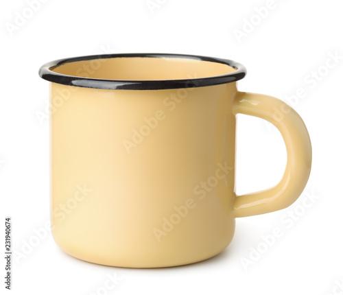 Yellow enamel coffee mug