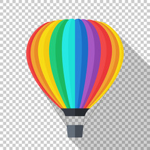 Hot Air Balloon Icon In Flat S...