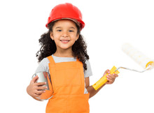 Little Girl-worker In Orange Uniform With Paint And Roller In Hands Isolatd On A White Background
