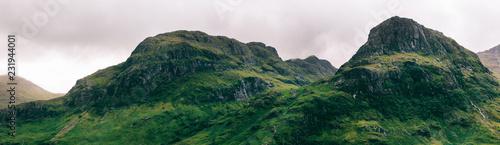 Mountains in Green Scottish Highlands Panorama